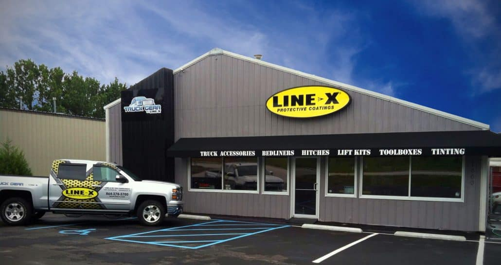 Storefront of the Greenwood Location of Line-X of the Carolinas, Inc.